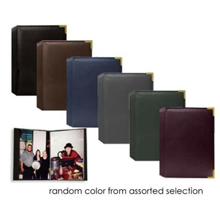 "Pioneer Wallet Oxford Bound Photo Album, Random Solid Color Sewn Leatherette Covers with Brass Accent Corners, Holds 24 2.5x3.5"" Wallet Photos, 1 Per Page,"