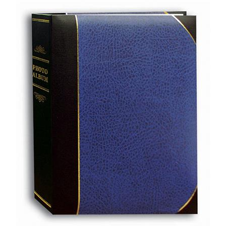 """Pioneer Ledger Le'Memo Bi-Directional Bound Photo Album, Solid Black / Blue Color Covers with Gold Accents, Holds 200 5"""" x 7"""" Photos, 2 Per Page. image"""