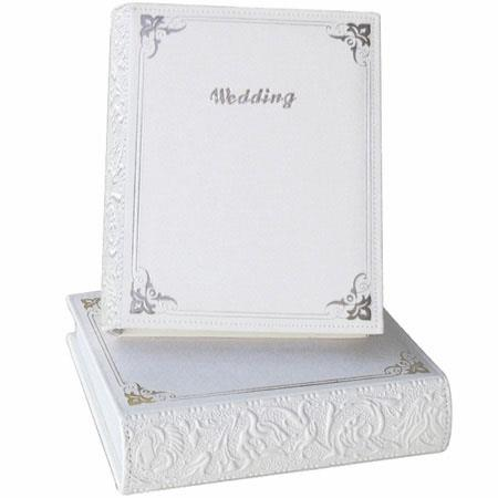 "Pioneer WES-246, 4"" x 6"" Book Style Italian Embossed White Leatherette Wedding Photo Album, Holds 208 Photos image"