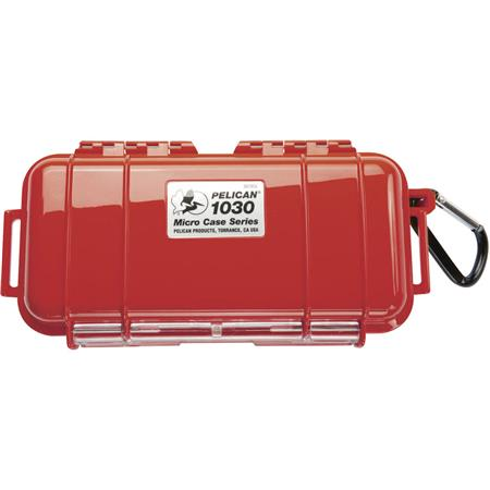 Pelican 1030 Watertight Hard Micro Case with Rubber Liner - Red