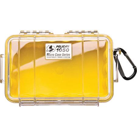Pelican 1050 Watertight Hard Micro Case with Rubber Liner - Clear / Yellow