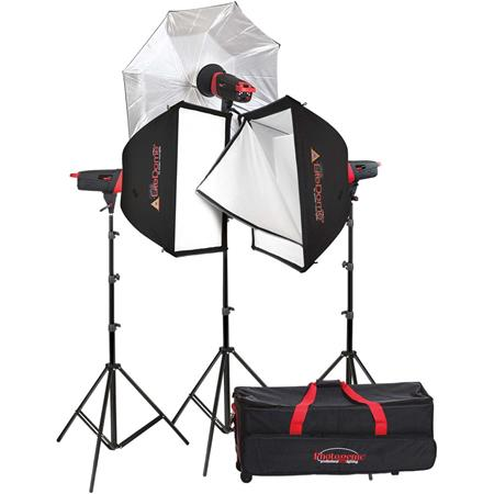 "Photogenic Matrix MCD400R 400Ws Monolight 3-Light Kit, Includes MCD-TXC WirelessController, 2x24x32"" Softbox, 45""..."