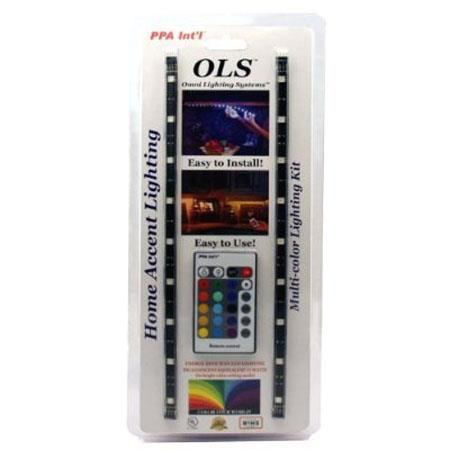 PPA International OLSHARGB Home Accent RGB Lighting Kit with 24 Button Remote, Multi-Color, On/Off, Dim or Brighten, 4 Displays