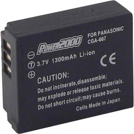 Power2000 CGA-S007 Replacement 7.2v, 1100mAh Lithium Ion Battery for Panasonic CGA-S007 Digital Camera Battery