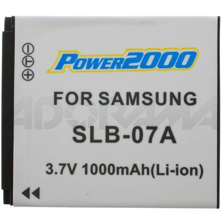 Power2000 SBL-07A Replacement 3.7v, 1100mAh Lithium Ion Battery for Samsung SBL-07A Digital Camera Battery