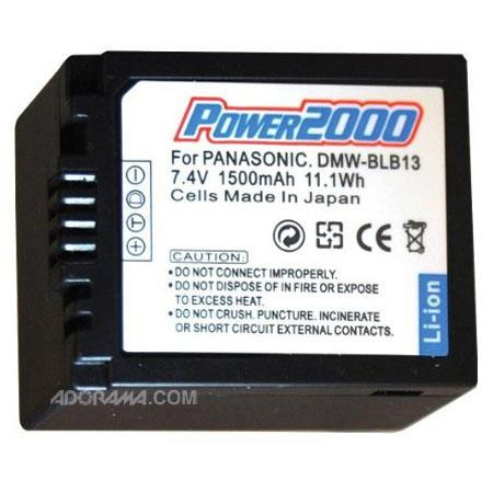 Power2000 BLB-13 Replacement 7.2v, 1500mAh Lithium Ion Battery for Panasonic BLB-13 Digital Camera Battery