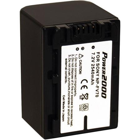 Power2000 NP-FV70 Replacement Lithium-Ion 7.2v, 2450mAh Camcorder Battery for Sony Camcorders