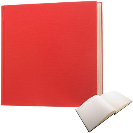"Semikolon (Pierre Belvedere) Classic Series, Extra-Extra Large Bound 14x14"" Photo Album with Linen Covers, 75 Ivory Pages, Color: Red"