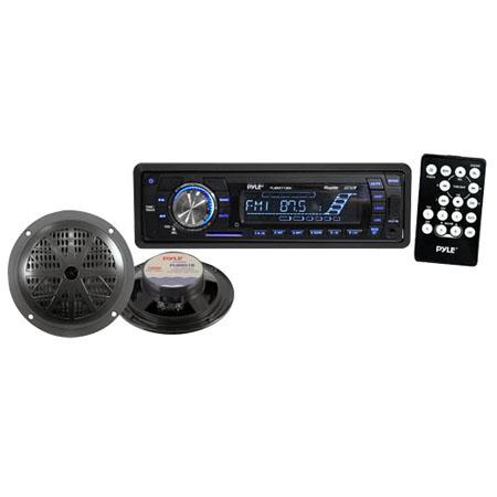 Pyle PLMRKT12BK In-Dash Marine AM/FM PLL Tuning Radio with USB/SD/MMC Reader, Speakers & Remote, Black
