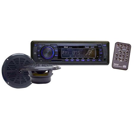 Pyle PLMRKT13BK In-Dash Marine AM/FM PLL Tuning Radio with USB/SD/MMC Reader, Speaker System, Black