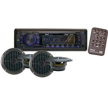 Pyle PLMRKT14BK In-Dash Marine AM/FM PLL Tuning Radio with USB/SD/MMC Reader, Speaker System, Black