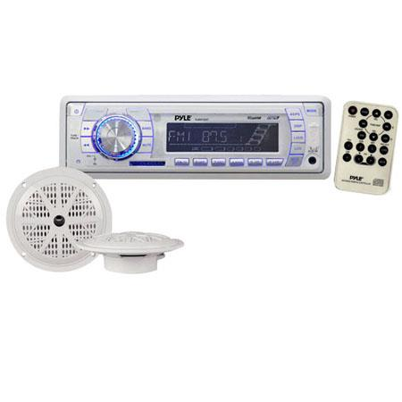 Pyle PLMRKT32WT In-Dash Marine AM/FM PLL Tuning Radio with USB/SD/MMC Reader, Speaker System, White