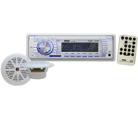 Pyle PLMRKT33WT In-Dash Marine AM/FM PLL Tuning Radio with USB/SD/MMC Reader, Speaker System, White
