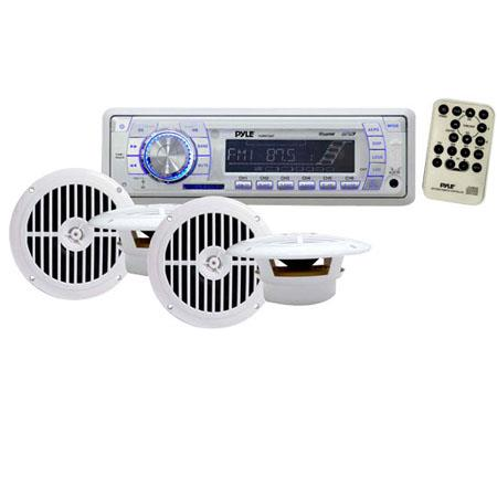 Pyle PLMRKT34WT In-Dash Marine AM/FM PLL Tuning Radio with USB/SD/MMC Reader, Speaker System, 40Hz-18 KHz Frequency Response, White