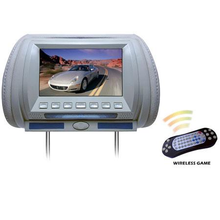 "Pyle PL70HD Adjustable Hideaway Headrest 7"" TFT Video Monitor with Built-In DVD/USB/SD Player, Wireless IR/FM Transmitter/ 32 Video Game System, Gray"