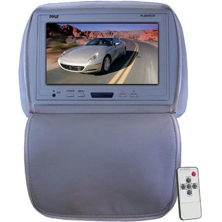 "Pyle PL90HR Adjustable Headrest with Built-In 9"" TFT-LCD Monitor, IR Transmitter, Gray"