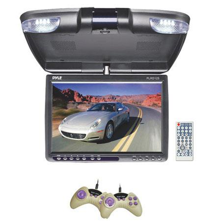 "Pyle PLRD125 12.1"" TFT LCD Flip-Down Roof Mount Monitor, Built-In DVD Player with FM Modulator/IR Transmitter, 800x600 High Resolution"