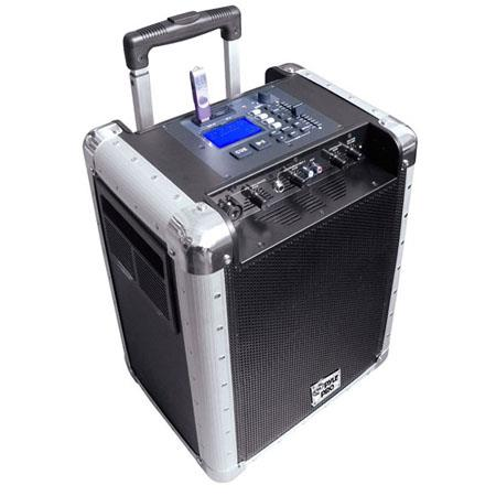 PylePro PCMX265 Portable PA System with Rechargeable Battery, USB Port, SD Slot, DJ Controls & Aux Inputs, Black