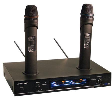 Pyle PDWM3000 Dual VHF Rechargeable Wireless Microphone System, 50 Hz to 16 kHz Frequency Response