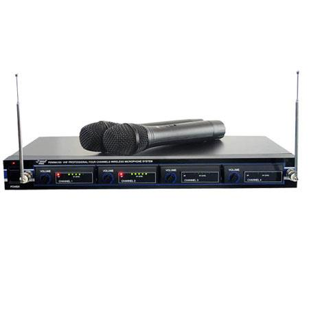 Pyle PDWM4300 4 Mic VHF Wireless Rack Mount Microphone System
