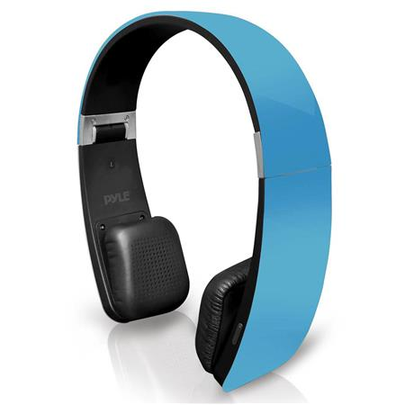Pyle Home PHBT6  6 Bluetooth 2-in-1 Stereo Headphones with Built-in Mic for Call Answering and Easy-Touch Digital Controls, 33' Range, Blue
