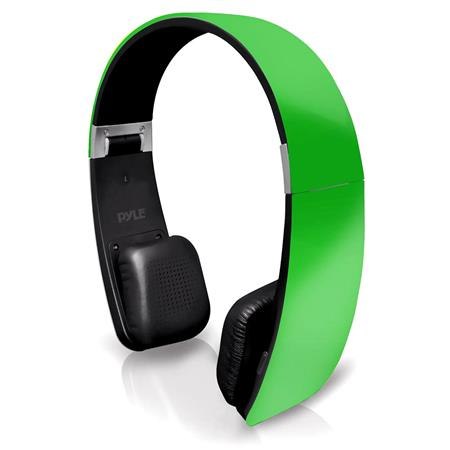 Pyle Home PHBT6  6 Bluetooth 2-in-1 Stereo Headphones with Built-in Mic for Call Answering and Easy-Touch Digital Controls, 33' Range, Green