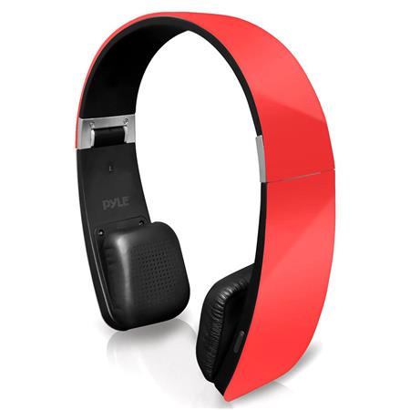 Pyle Home PHBT6  6 Bluetooth 2-in-1 Stereo Headphones with Built-in Mic for Call Answering and Easy-Touch Digital Controls, 33' Range, Red
