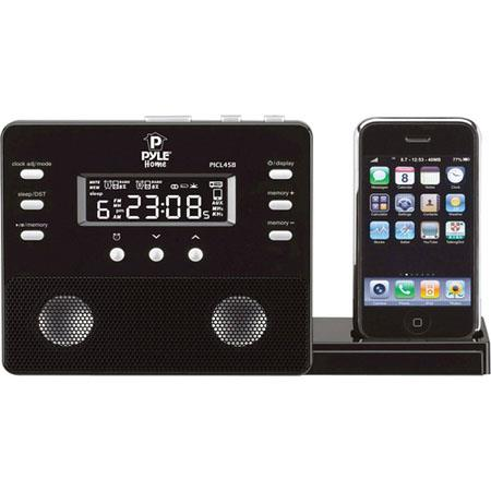 Pyle PICL45 Enhanced iPod/iPhone Alarm Clock Speaker System with AM/FM Radio and Remote Control, Black