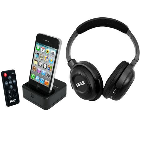 Pyle PIH30R UHF Wireless Stereo Headphones with Wireless iPhone/iPod Dock Transmitter and RF Remote Control
