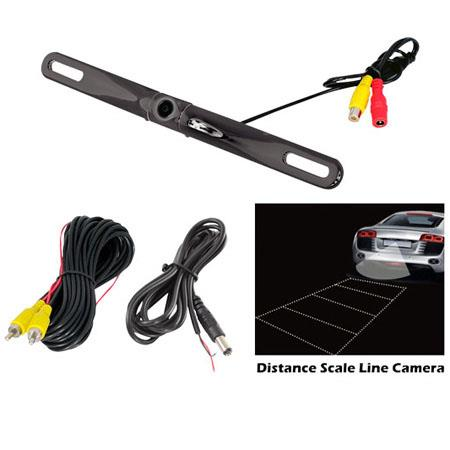 Pyle PLCM18BC License Plate Mount Rear View Backup Color Camera with Distance Scale Line