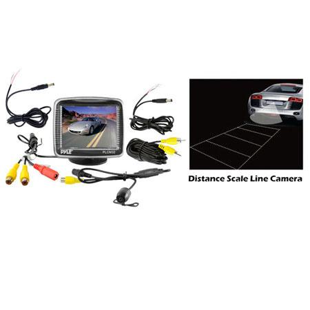 "Pyle PLCM32 3.5"" TFT LCD Monitor with Universal Mount Rear View & Backup Color CMD Distance Scale Line Camera"