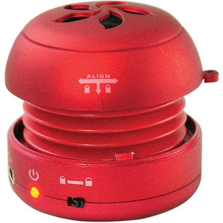 Pyle PMS2 Bass Expanding Rechargeable Mini Speaker, USB 2.0, Red