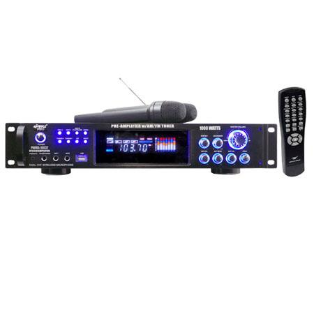 Pyle 1000 watt Hybrid Pre-Amplifier with AM-FM Tuner/USB/Dual Wireless Mic