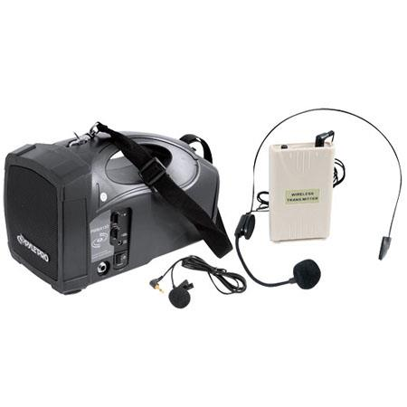 Pyle Portable PA Wireless Speaker System with Belt Pack Lavalier/Headsets with Two Microphone Inputs