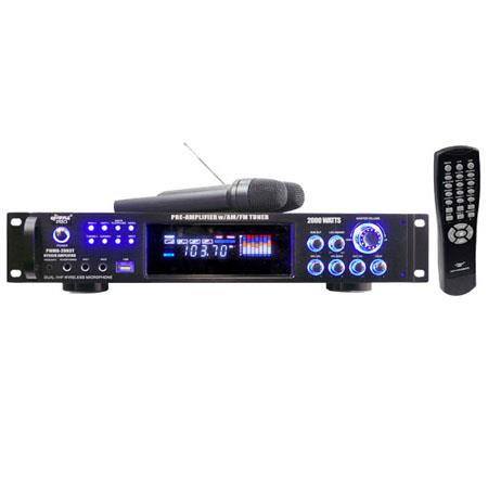 Pyle 2000 watt Hybrid Pre-Amplifier with AM-FM Tuner/USB/Dual Wireless Mic