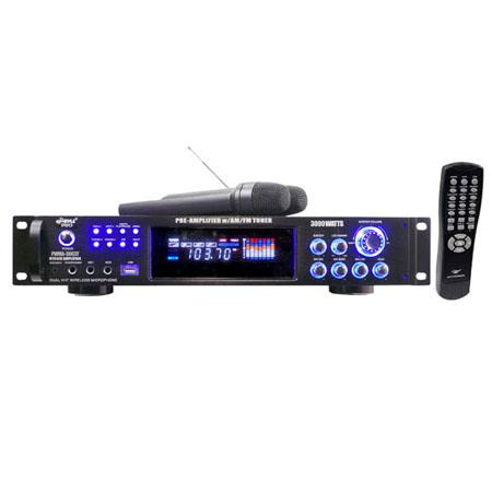 Pyle 3000 watt Hybrid Pre-Amplifier with AM-FM Tuner/USB/Dual Wireless Mic