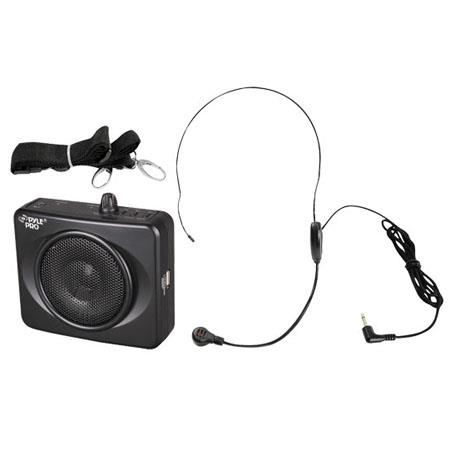 Pyle Waistband Portable PA System with USB Input, Headset Microphone, Built-In Rechargeable Batteries, Black