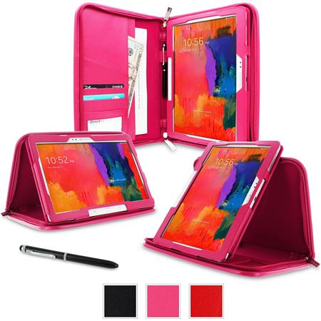 rooCASE Executive Portfolio Leather Case for Galaxy Tab Pro 10.1/Note 10.1 (2014 Edition), Magenta