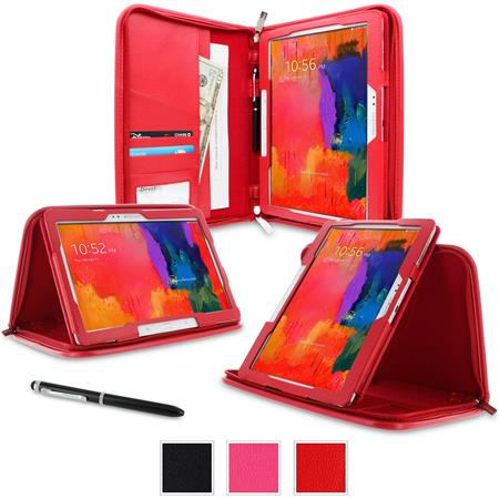 rooCASE Executive Portfolio Leather Case for Galaxy Tab Pro 10.1/Note 10.1 (2014 Edition), Red