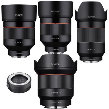 Rokinon 14mm F2.8 AF Wide Angle Lens - 35mm f/1.4 AF Lens - AF 50mm f/1.4 FE Lens - 85mm f/1.4 Auto Focus Lens for Sony...