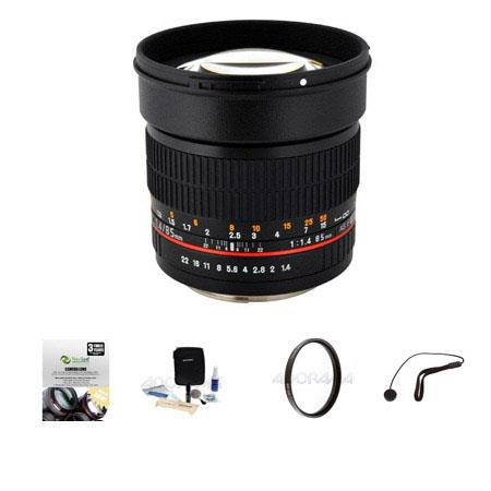 Rokinon 85mm f/1.4 Aspherical Manual Focus Lens Samsung NX Camera - Bundle With New Leaf 3 Year (Drops & Spills) USA Warranty, Pro-optic 72mm MC UV Filter, Cleaning Kit, Capleash II