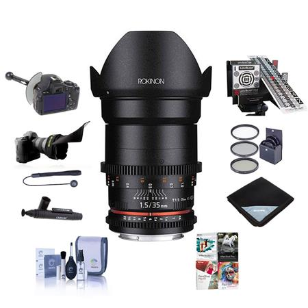 Rokinon 35mm T1.5 Cine VDSLR Wide-Angle Lens for Canon EF Mount - Bundle With 77mm Filter Kit, LensAlign MkII Focus...
