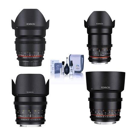 Rokinon Cine DS Lens Kit for Canon EF Mount Consists of 16mm T2.2 Lens, 35mm T1.5 Lens, 50mm T1.5 Lens, 85mm T1.5 Lens,...