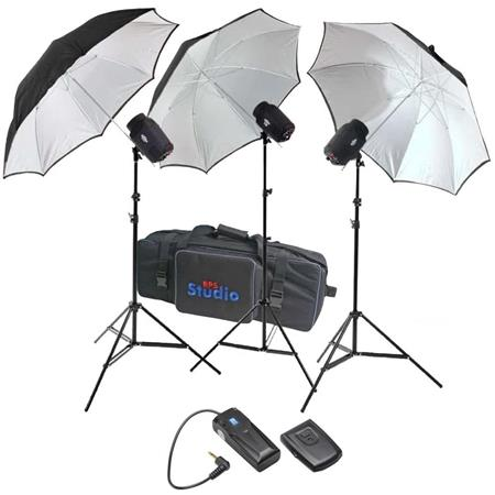 RPS Studio 480 watt, 3 Monolight Portable Strobe Kit, with PC Cords, 3 Umbrellas, Stands, Infrared Trigger & Heavy Duty Nylon Case. image