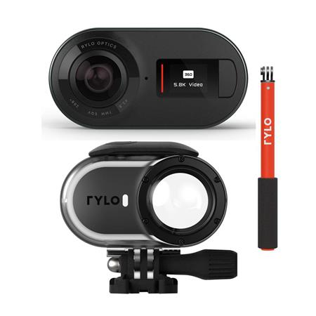 Rylo 5.8K 360 Degree Video Camera - Bundle With Rylo Invisible Selfie Stick, Rylo Adventure Case for 360 Degree Video Camera