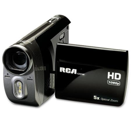 "RCA EZ5100R Palm Style 1080P High Definition Digital Camcorder, 1440x1080 Resolution, 2.4"" Display, 5x Optical Zoom, SD/SDHC Memory Slot"