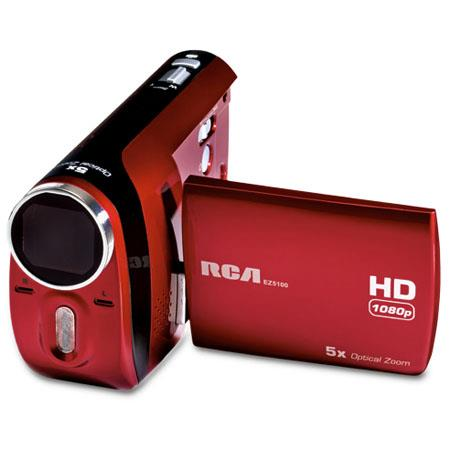 "RCA EZ5100RDR Palm Style 1080P High Definition Digital Camcorder, 1440x1080 Resolution, 2.4"" Display, 5x Optical Zoom, SD/SDHC Memory Slot"