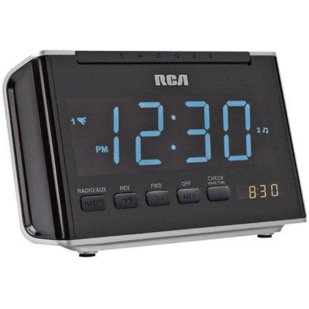 "RCA RC46 Dual Wake Alarm Clock with AM/FM Radio, 1.4"" Blue LED Display image"