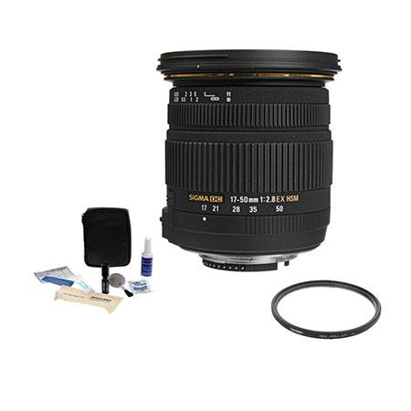Sigma 17-50mm f/2.8 EX DC HSM Auto Focus Lens Kit, for Maxxum & Sony Alpha Digital SLR's . with Tiffen 77mm UV Wide Angle Filter, Professional Lens Cleaning Kit,