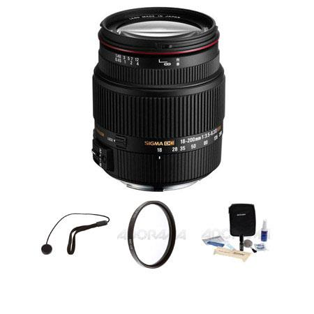 Sigma 18-200mm f/3.5-6.3 II DC OS HSM Lens for Canon EOS Cameras, USA - Bundle - with Pro Optic 62mm MC UV Filter, Lens Cap Leash, Professional Lens Cleaning Ki